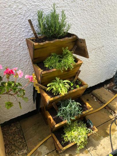Herb garden planted up showing the hooks where my garden tools hang on the side