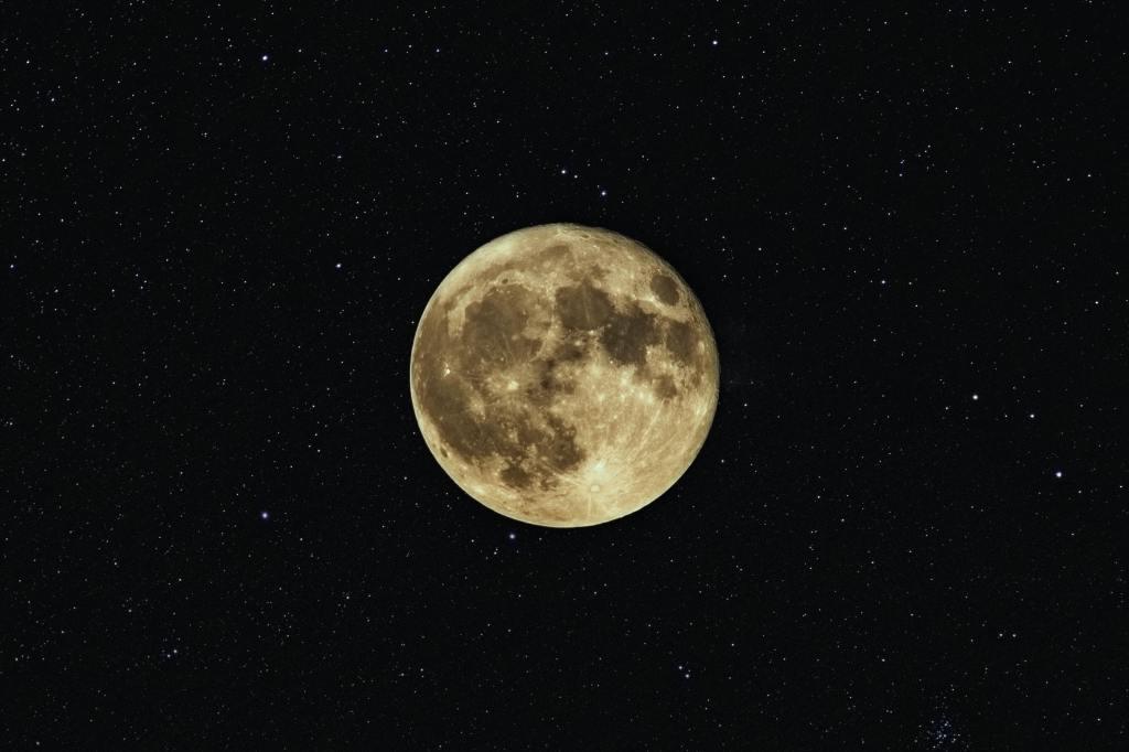 The moon among the stars