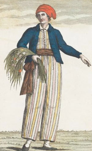 A drawing of Jeanne Baret disguised as a man, holding